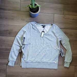 Romeo juliet couture gray distressed sweatshirt s